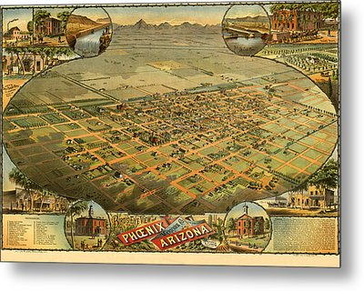 Phoenix Arizona 1885 Metal Print by Donna Leach