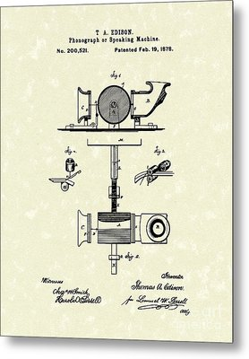 Phonograph 1878 Patent Art  Metal Print by Prior Art Design