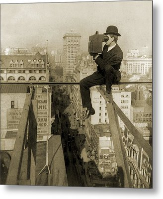 Photographer Perched On Slender Beam 18 Metal Print by Everett
