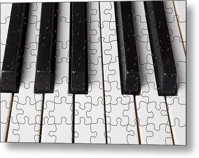 Piano Keys Jigsaw Metal Print by Garry Gay