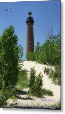 Metal Print featuring the photograph Picnic By The Lighthouse by Joan Bertucci