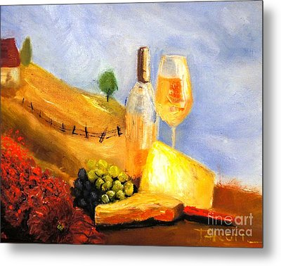 Picnic In The Vineyard Metal Print by Therese Alcorn