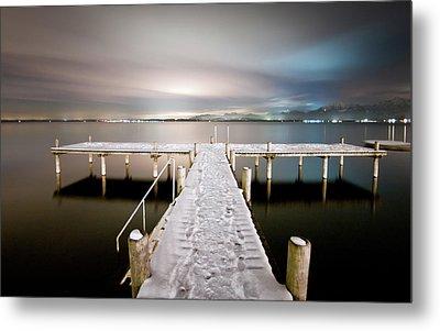 Pier At Night Metal Print by daitoZen