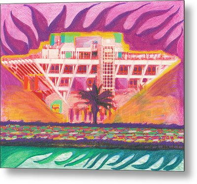 Pier In The Pink Metal Print by Sheree Rensel