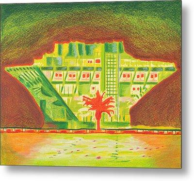 Pier Red Tree Metal Print by Sheree Rensel