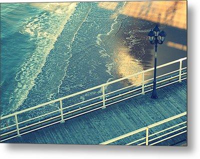 Pier With Lamp On Coast Of North Sea Metal Print by Photo by Ira Heuvelman-Dobrolyubova