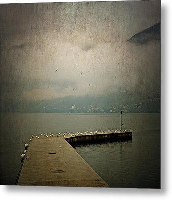 Pier With Seagulls Metal Print by Joana Kruse