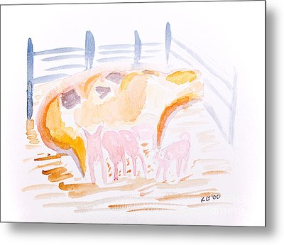 Pig With Piglets  Metal Print by Simon Bratt Photography LRPS