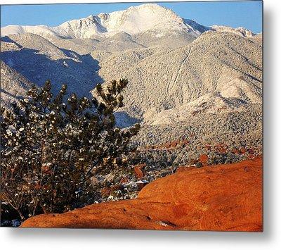 Pikes Peak Stunning Snow Metal Print by Clarice  Lakota