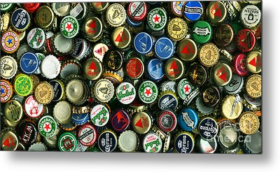 Pile Of Beer Bottle Caps . 2 To 1 Proportion Metal Print by Wingsdomain Art and Photography