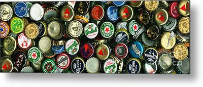 Pile Of Beer Bottle Caps . 3 To 1 Proportion Metal Print by Wingsdomain Art and Photography
