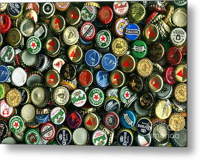 Pile Of Beer Bottle Caps . 8 To 12 Proportion Metal Print by Wingsdomain Art and Photography