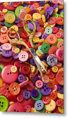 Pile Of Buttons With Scissors  Metal Print by Garry Gay