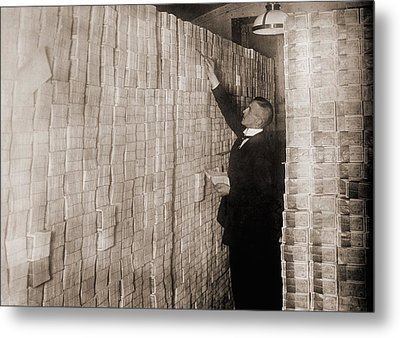 Piles Of German Money In A Berlin Bank Metal Print by Everett