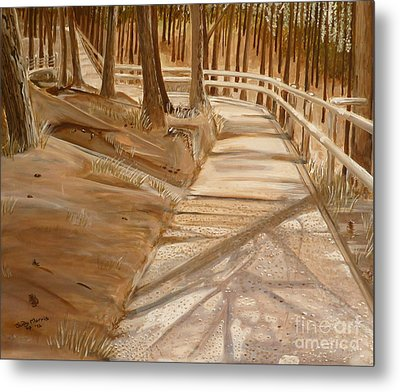 Pine Forest Walk Metal Print