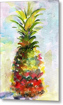 Pineapple Study Watercolor Metal Print by Ginette Callaway