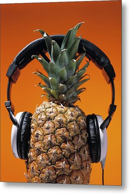 Pineapple Wearing Headphones Metal Print by Philip Haynes
