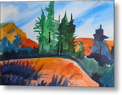 Pines Atop Red Mountain Metal Print