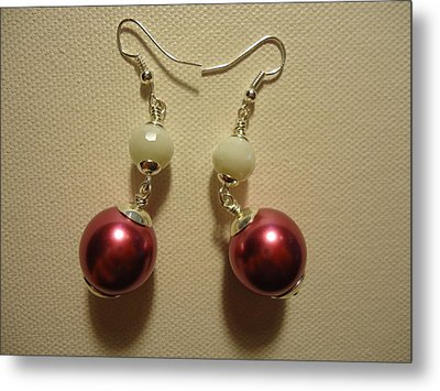 Pink And White Ball Drop Earrings Metal Print