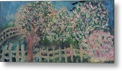 Pink And White Trees And Fence Metal Print by Anne-Elizabeth Whiteway