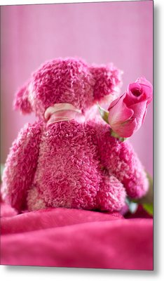 Metal Print featuring the photograph Pink Bear Behind Holding Pink Rose by Ethiriel  Photography