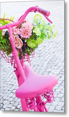 Pink Bicycle Metal Print by Carlos Caetano