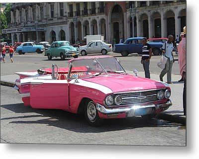 Pink Chevy In Havana Metal Print by David Grant
