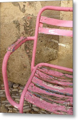 Pink Chair Metal Print by Lainie Wrightson