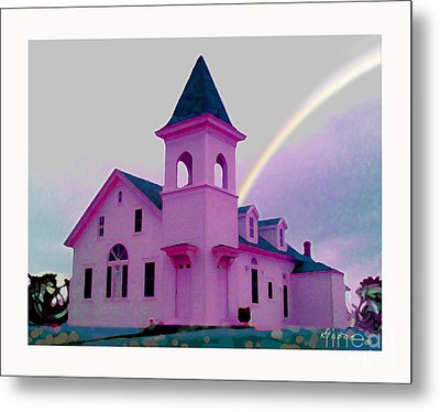 Pink Church With Rainbow Metal Print