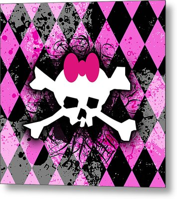 Pink Diamond Skull Metal Print by Roseanne Jones