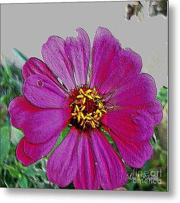 Pink Flower Metal Print by Lisa  Ridgeway