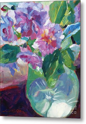 Pink Flowers In Green Glass Metal Print