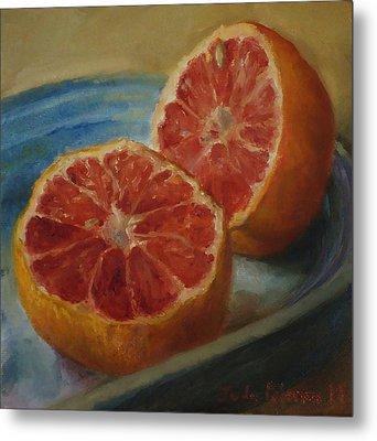 Pink Grapefruit On Blue Vintage Platter Metal Print by Judy Palermo