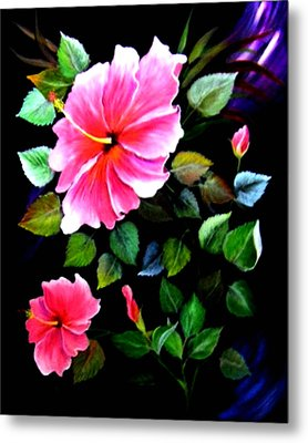 Metal Print featuring the painting Pink Hibiscus by Fram Cama