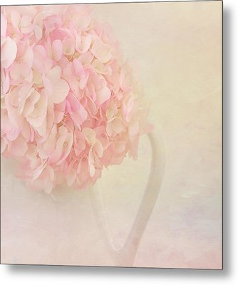 Pink Hydrangea Flowers In White Vase Metal Print by Kim Hojnacki