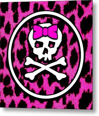 Pink Leopard Bow Skull Metal Print by Roseanne Jones