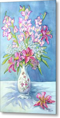 Pink Lillies In A Vase Metal Print