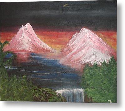 Pink Mountains Metal Print by Melanie Blankenship