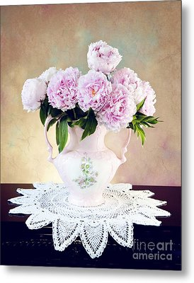 Metal Print featuring the photograph Pink Peonies by Cheryl Davis