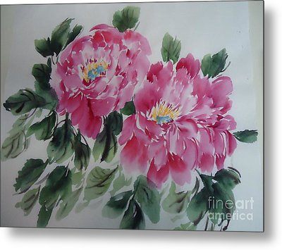 Metal Print featuring the painting Pink Peony by Dongling Sun