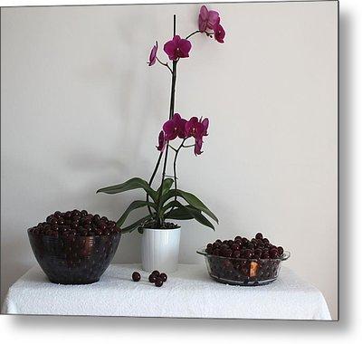Pink Phalaenopsis Orchid And Sour Cherries Metal Print by Georgeta  Blanaru