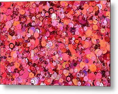 Pink Sequins Of Various Shapes And Sizes Metal Print by Andrew Paterson