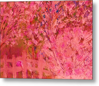 Pink Tree And Fence Metal Print by Anne-Elizabeth Whiteway