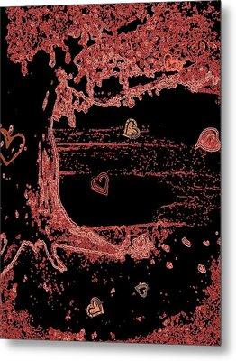 Pink Tree Full Of Love Metal Print by Cara Surdi