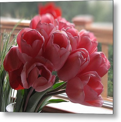 Metal Print featuring the photograph Pink Tulips In Vase by Katie Wing Vigil