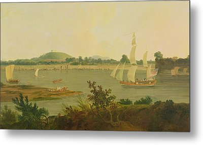 Pinnace Sailing Down The Ganges Past Monghyr Fort Metal Print by Thomas Daniell