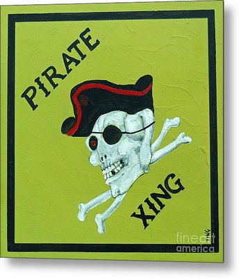 Metal Print featuring the painting Pirate Crossing Beware by Doris Blessington