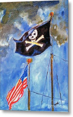 Metal Print featuring the painting Pirate Flag Over Savannah by Doris Blessington