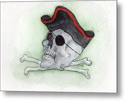 Metal Print featuring the painting Pirate Greetings by Doris Blessington