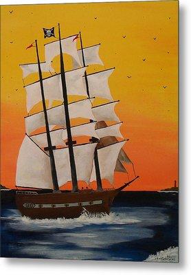 Pirate Ship At Dawn Metal Print by Paul F Labarbera